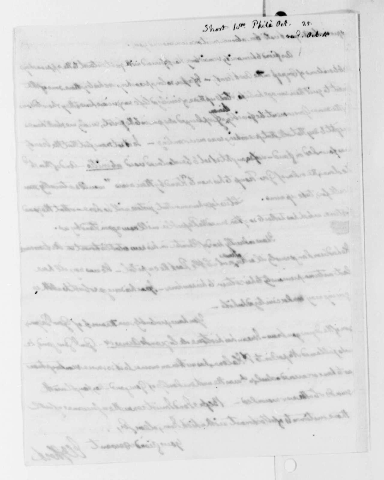 William Short to Thomas Jefferson, October 4, 1825