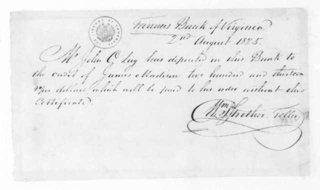 William Strother to John O. Lay, August 2, 1825. Receipt.