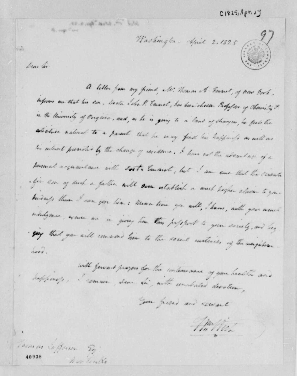 William Wirt to Thomas Jefferson, April 2, 1825