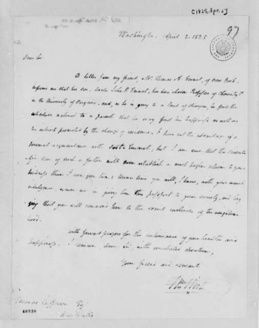 William Wirt to Thomas Jefferson, April 2, 1825