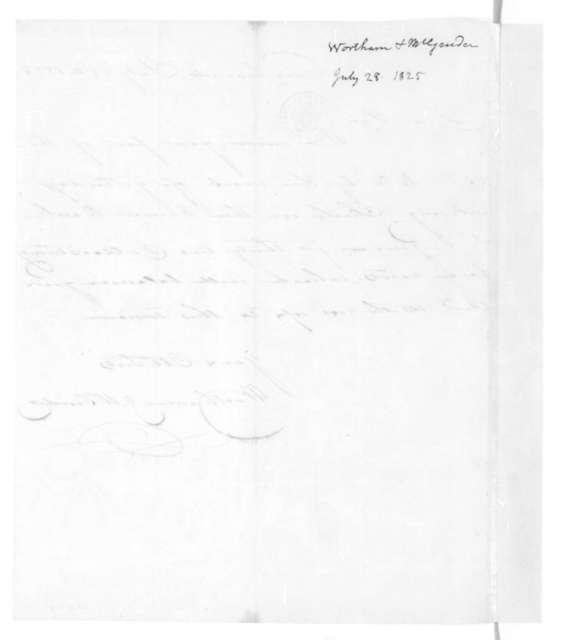 Wortham & McGruder to James Madison, July 28, 1825.