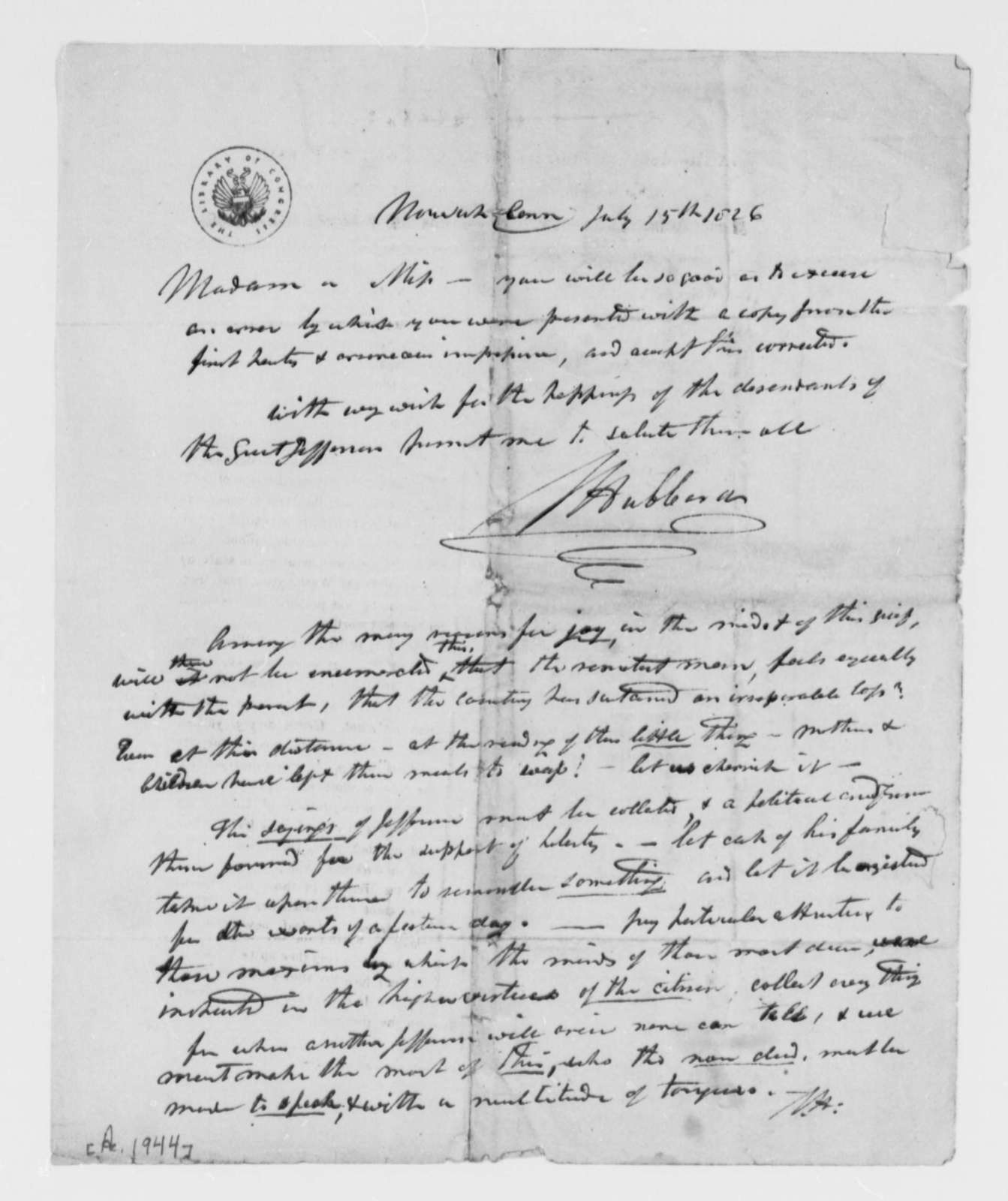 A. H. Hubbard to Martha Randolph, July 15, 1826
