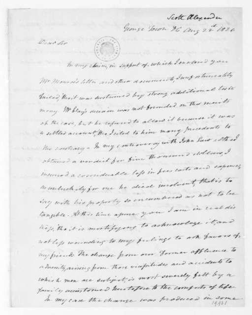 Alexander Scott to James Madison, August 22, 1826.