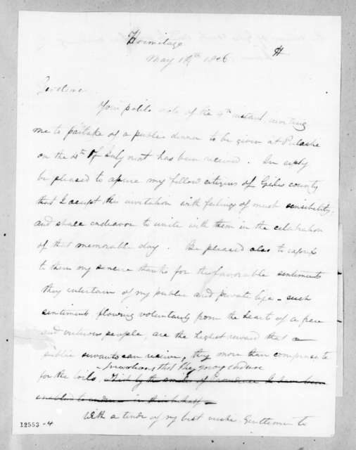 Andrew Jackson to Giles County Citizens, May 14, 1826