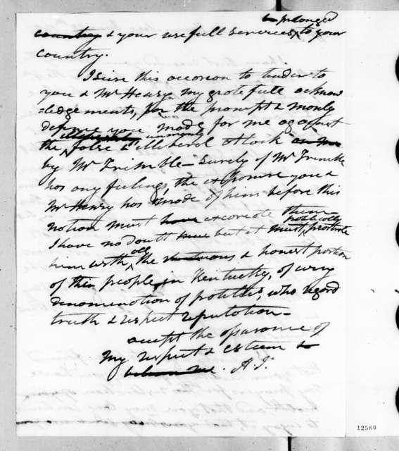 Andrew Jackson to Thomas Patrick Moore, June 28, 1826