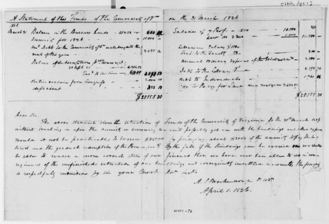 Arthur S. Brockenbrough to Thomas Jefferson, April 1, 1826, University of Virginia Financial Statement