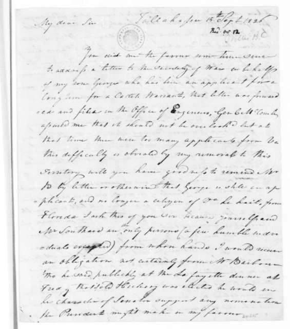 Byrd C. Willis to James Madison, September 15, 1826.