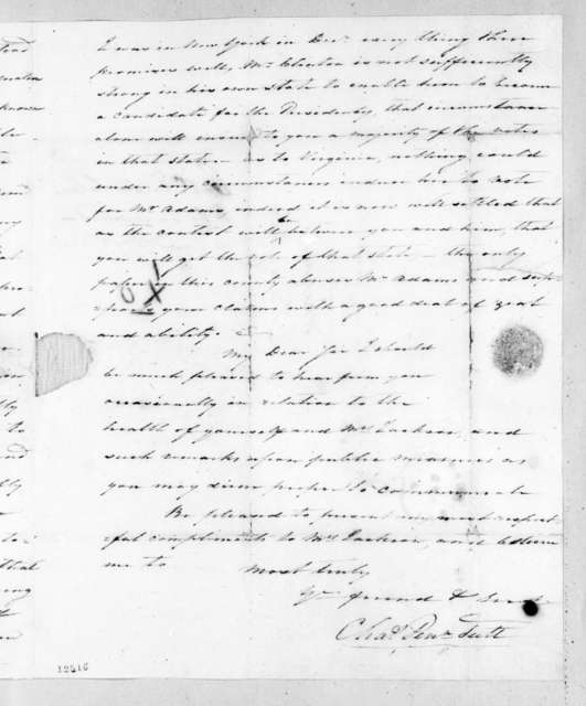 Charles Pendleton Tutt to Andrew Jackson, April 2, 1826