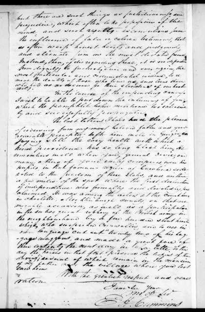 Ebenezer Harlow Cummins to Andrew Jackson, August 10, 1826