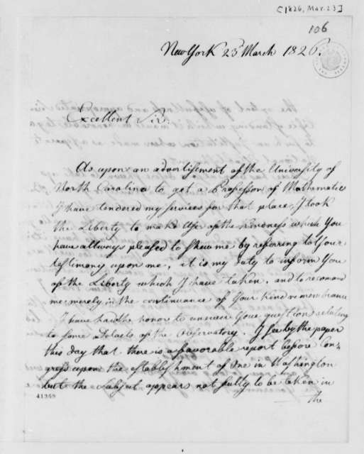 Ferdinand R. Hassler to Thomas Jefferson, March 23, 1826