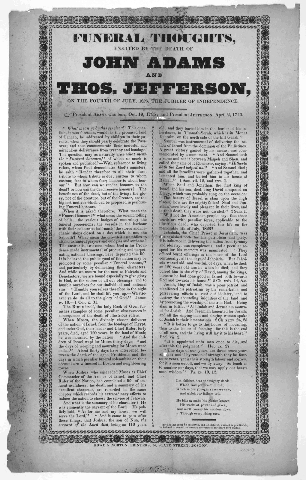 Funeral thoughts, excited by the death of John Adams and Thos. Jefferson, on the fourth of July, 1826, the jubilee of independence ... Boston. Howe & Norton, printers, 14 State Street [1826].
