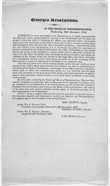 Georgia resolutions. In the House of representatives Wednesday, 20th December, 1826. [Atlanta?].