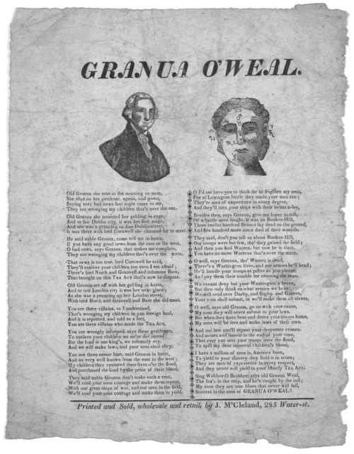 Granua O'weal. [New York] Printed and sold, wholesale and retail. by J. M'Cleland. 285 Water-st [1826-29?].