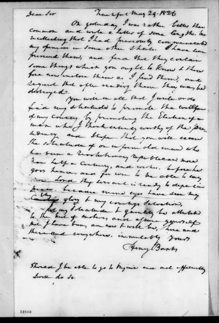 Henry Banks to Andrew Jackson, May 29, 1826