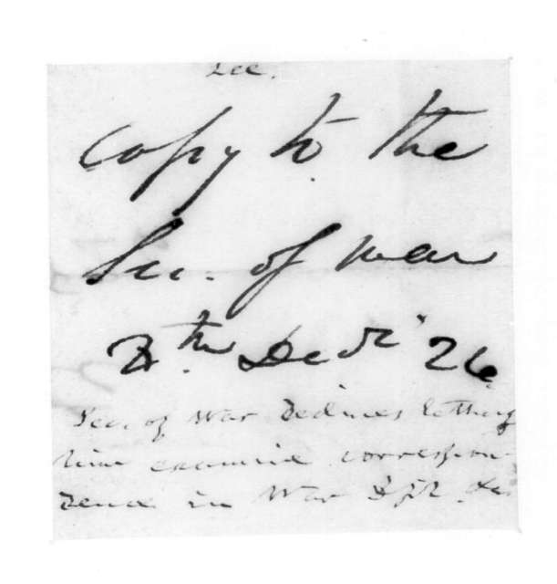 Henry Lee to James Barbour, December 4, 1826