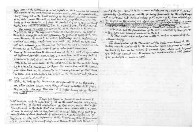 James Madison, August, 1826. Notes, Thomas Jefferson's Memoirs.