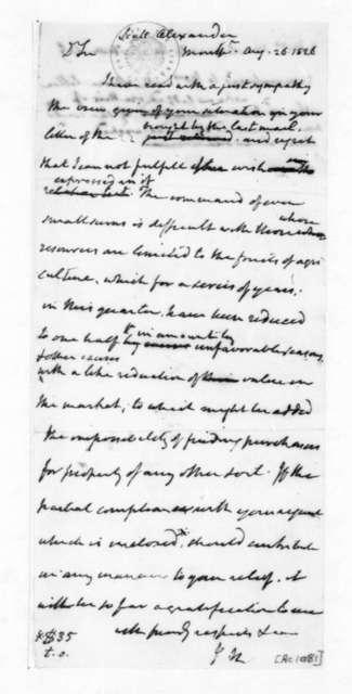 James Madison to Alexander Scott, August 26, 1826.