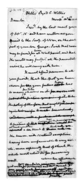 James Madison to Byrd C.Willis, October 13, 1826.