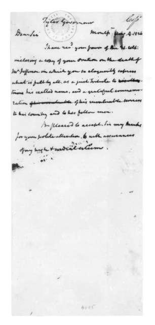 James Madison to John Tyler, August 4, 1826.