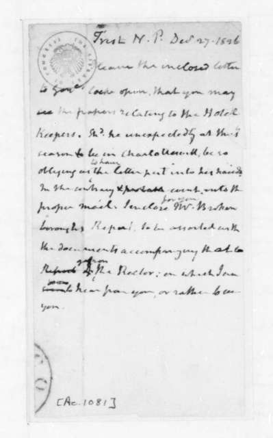 James Madison to Nicholas P. Trist, December 27, 1826.