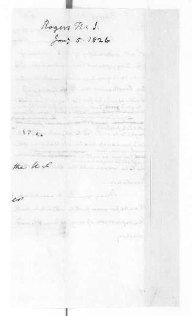 James Madison to Thomas Rogers, January 16, 1826.
