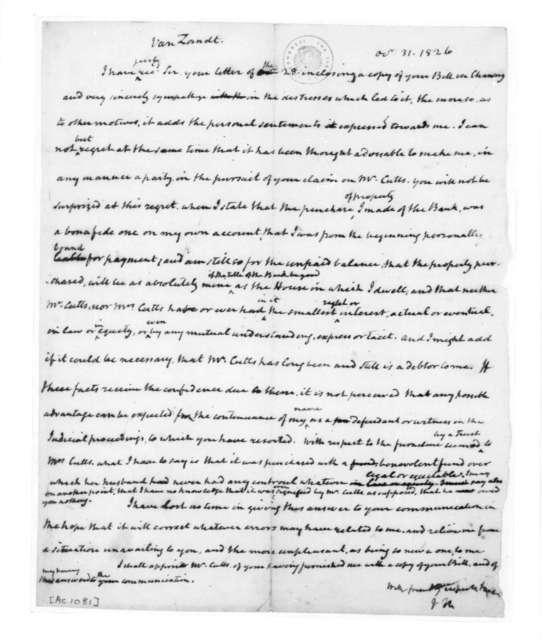 James Madison to Van Zandt, October 31, 1826.