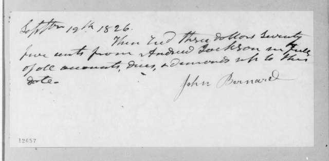 John Bernard to Andrew Jackson, September 19, 1826