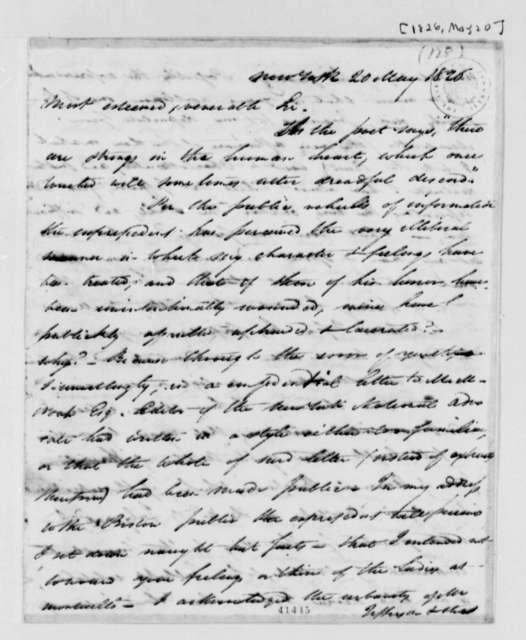 John H. I. Browere to Thomas Jefferson, May 20, 1826, with Article Excerpt from Richmond Enquirer