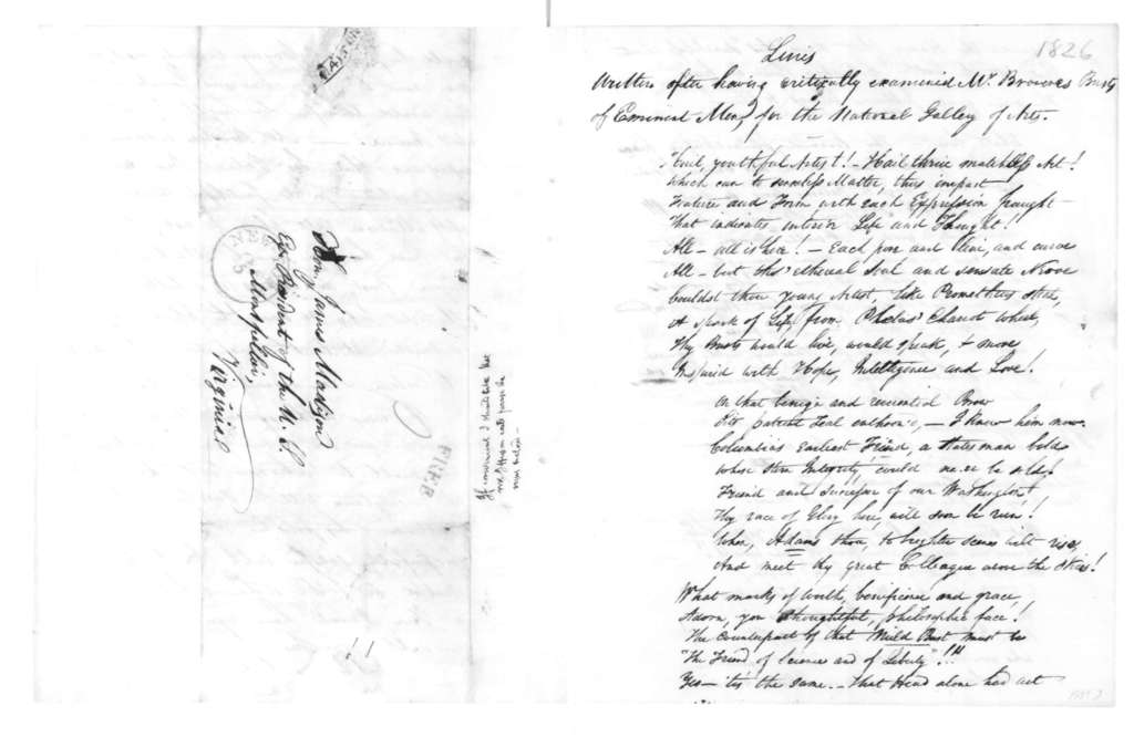 John H. J. Browere to James Madison, February 4, 1826. Includes a poem on Art.