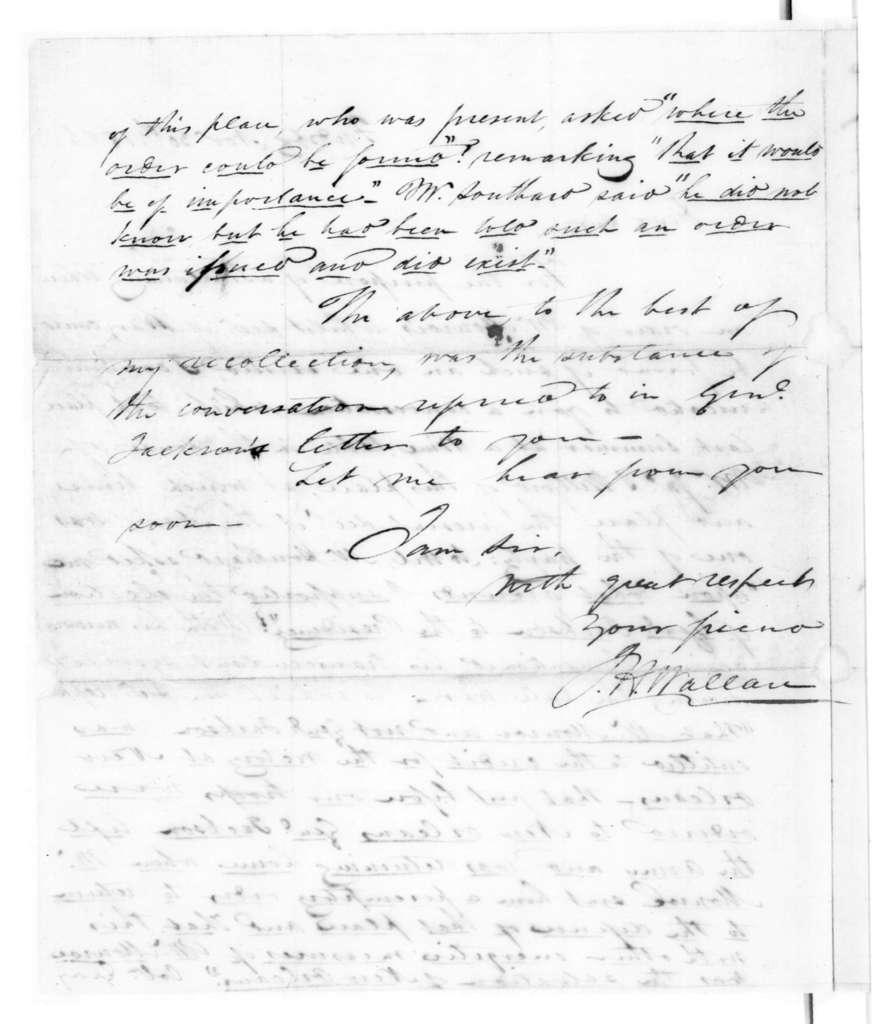John Hooe Wallace to Samuel Houston, November 30, 1826