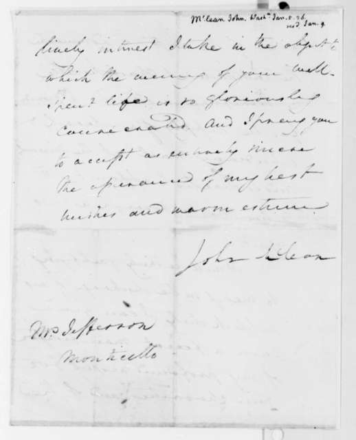 John McLean to Thomas Jefferson, January 5, 1826