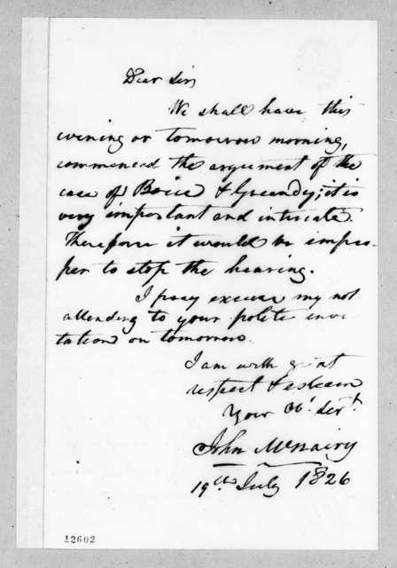 John McNairy to Andrew Jackson, July 19, 1826