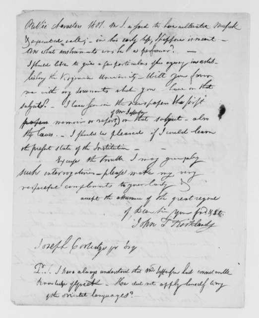 John T. Kirkland to Joseph Coolidge, Jr., October 12, 1826