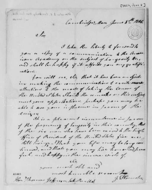 Joseph Emerson Worcester to Thomas Jefferson, June 8, 1826