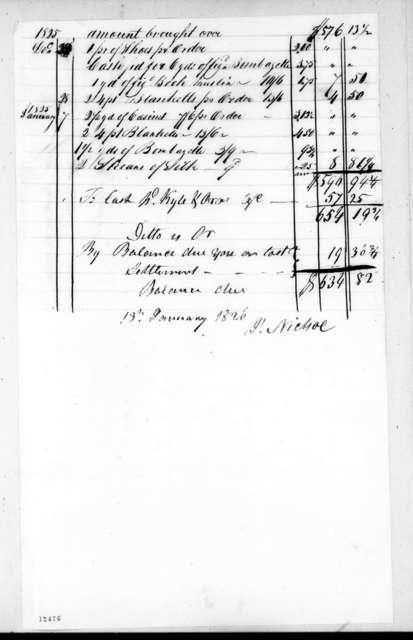 Josiah Nichol to Andrew Jackson, January 13, 1826