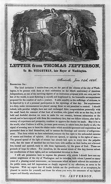 Letter from Thomas Jefferson, to Mr. Weightman, late Mayor of Washington