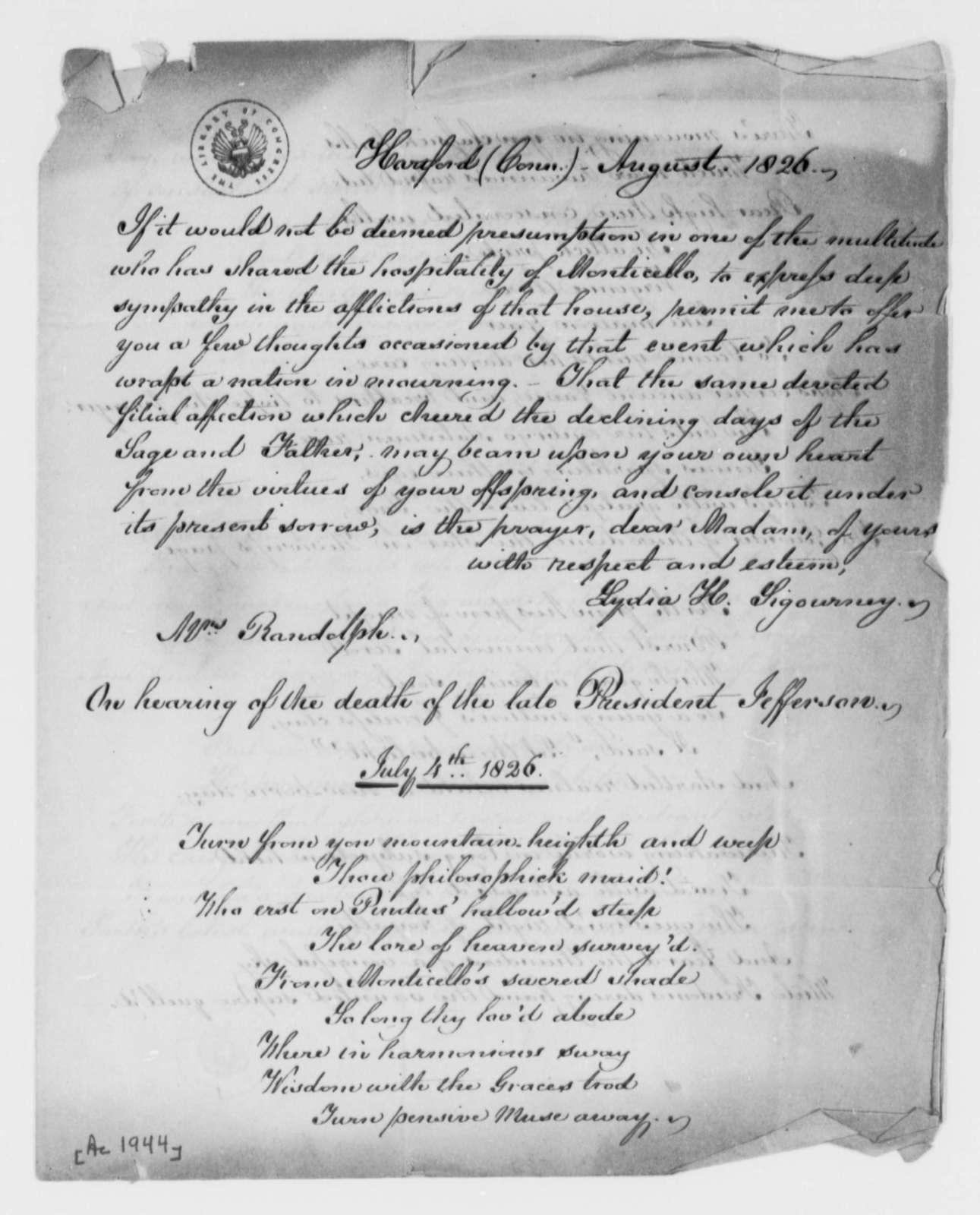Lydia H. Sigourney to Martha Randolph, August 1826, with Poem