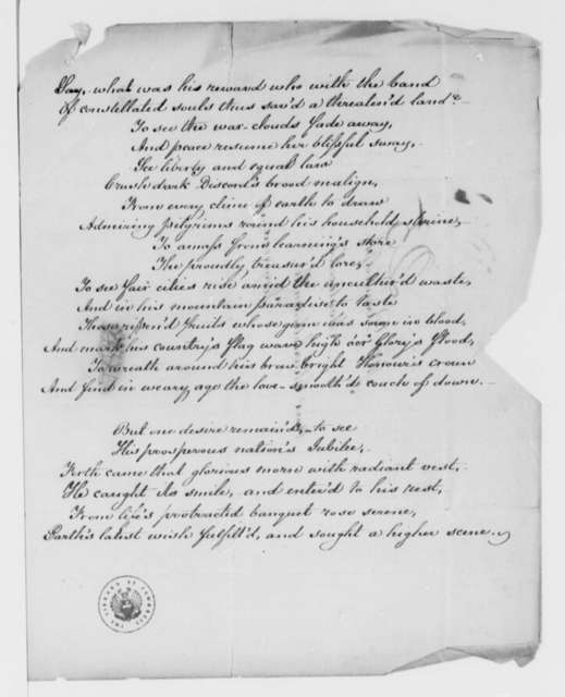 Lydia H. Sigourney to Martha Randolph, August 1826, with Poem