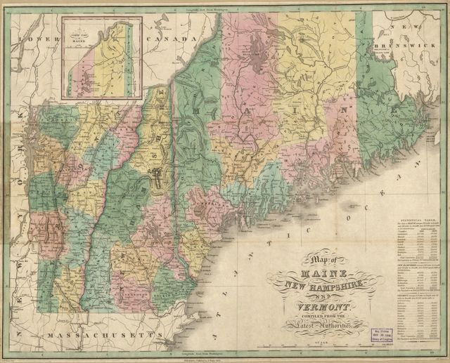 Map of Maine, New Hampshire and Vermont : compiled from the latest authorities /