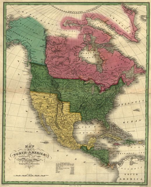Map of North America including all the recent geographical discoveries.