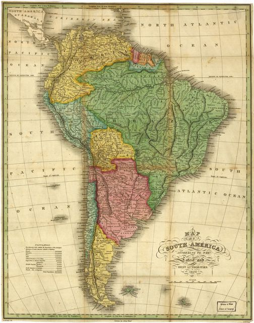 Map of South America According to the Latest and Best Authorities.