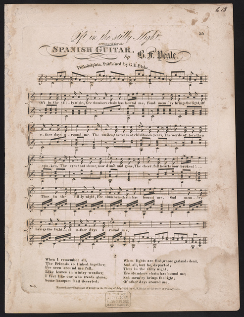 Oft in the stilly night arranged for the Spanish guitar by B.F. Peale