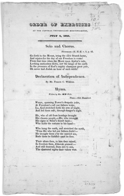 Order of exercises at the Central Universalist meeting-house. July 4, 1826 J. B. Clough, Printer, Custom-house Street [1826.