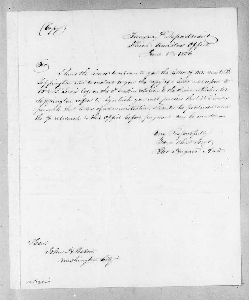 Peter Hagner to John Henry Eaton, June 5, 1826