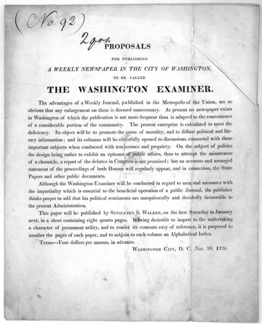 Proposals for publishing a weekly newspaper in the city of Washington to be called the Washington examiner ... Washington City, D. C. Nov. 10, 1826.