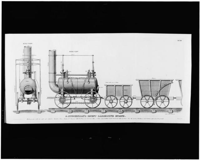 [Rear and side view of George Stephenson's steam locomotive and railroad cars of the Stockton and Darlington Railway]
