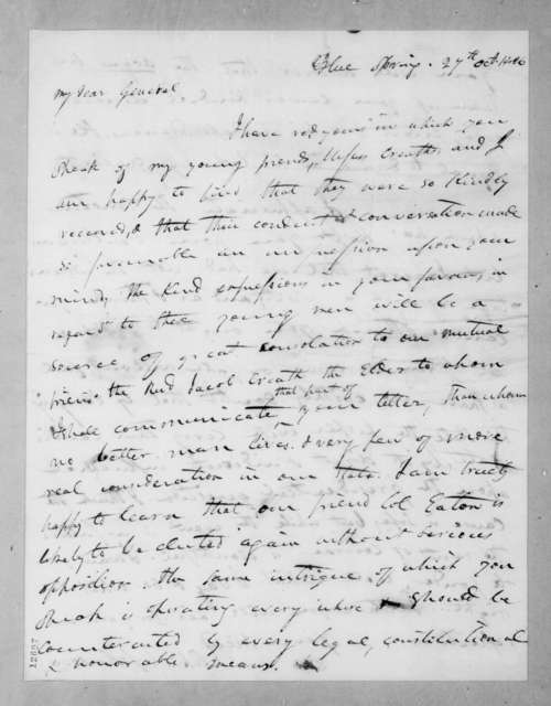 Richard Mentor Johnson to Andrew Jackson, October 27, 1826