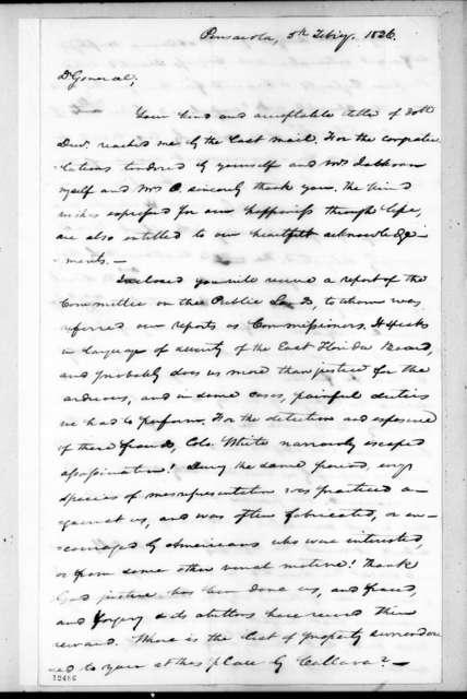 Samuel Ragland Overton to Andrew Jackson, February 5, 1826