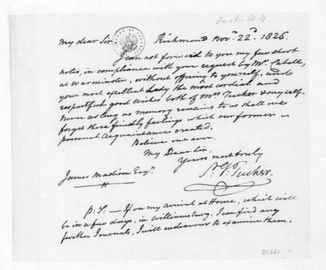 St. George Tucker to James Madison, November 22, 1826.