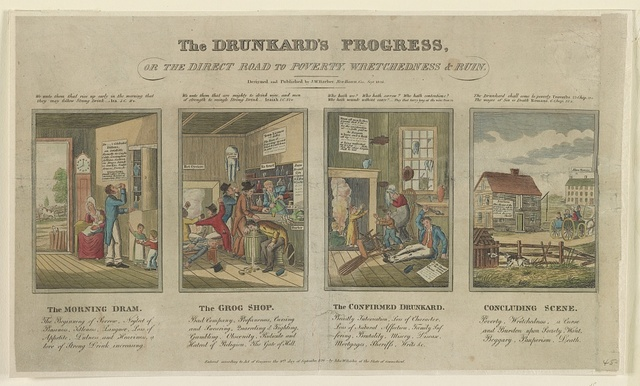 The drunkard's progress, or the direct road to poverty, wretchedness & ruin / designed and published by J.W. Barber, New Haven, Conn.